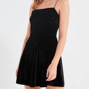 Urban outfitters black velvet mini dress